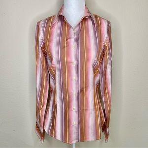 Thomas Pink Striped Button Down Shirt 8
